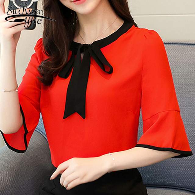 2019 new summer chiffon women blouse shirt solid office lady casual loose women tops bow flare sleeve female blusas D585 30