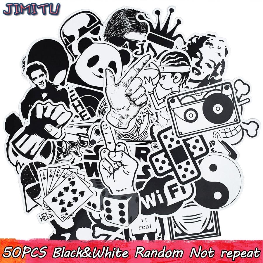 50pcs Black White Random Stickers Punk Anime JDM Sticker For Kid DIY Luggage Laptop Skateboard Moto Bicycle Waterproof Stickers