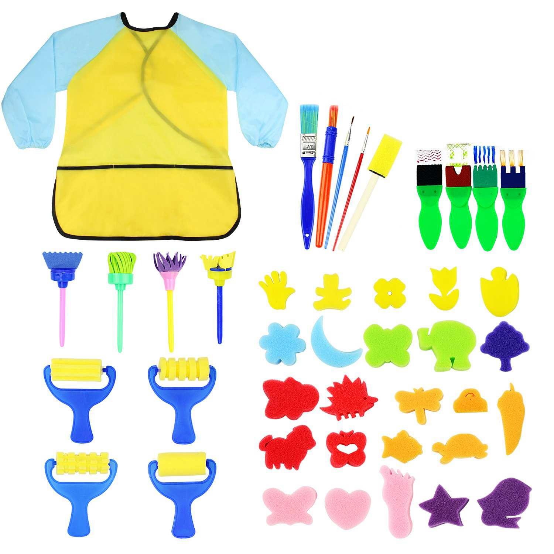 DIY Art Craft Sets Supplies for Kids 5pcs Kids Paint Brushes Sponge Cute Painting Brush Tool Set Seals Painting Tools Graffiti Art Supplies Kits for Children Toddler