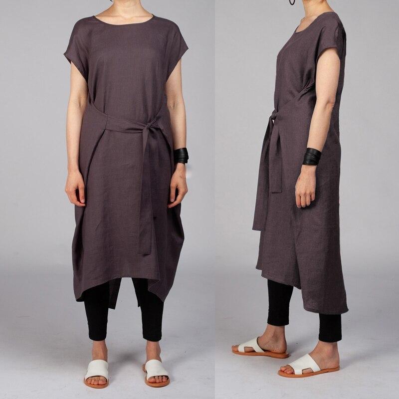 Celmia Women Vintage Midi Dress 2019 Summer Short Sleeve Belted Split Casual Loose Beach Linen Shirt Vestidos Plus Size Sunderss