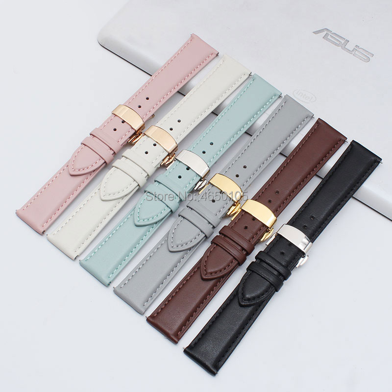 Watchbands Genuine Leather WatchBand 12mm 13mm 14mm 15mm 16mm 17mm 18mm 19mm 20mm Butterfly buckle Universal women Watchband