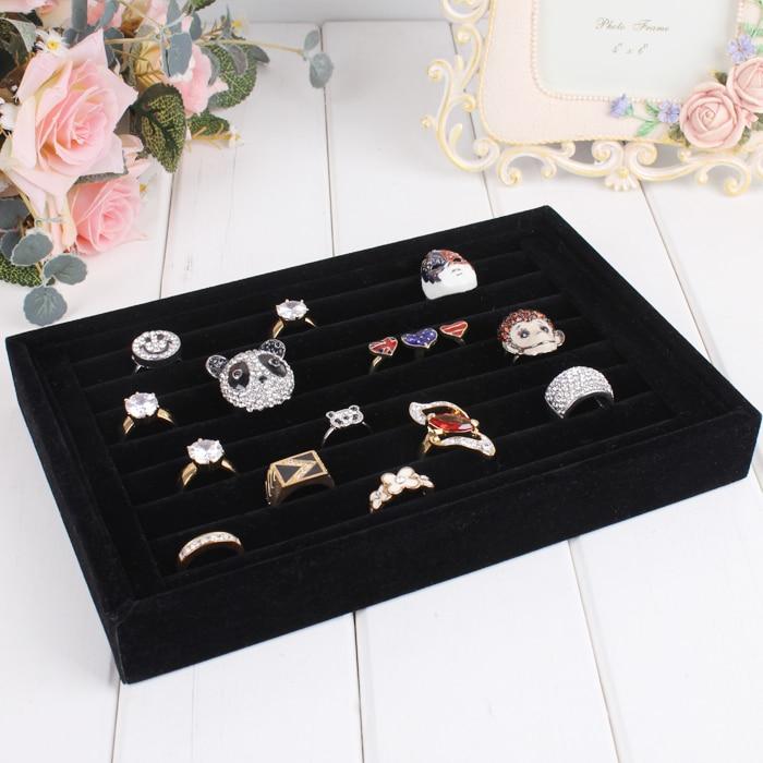 Jewelry Display Box Linen Rings Organizer Box Jewelry Storage Case