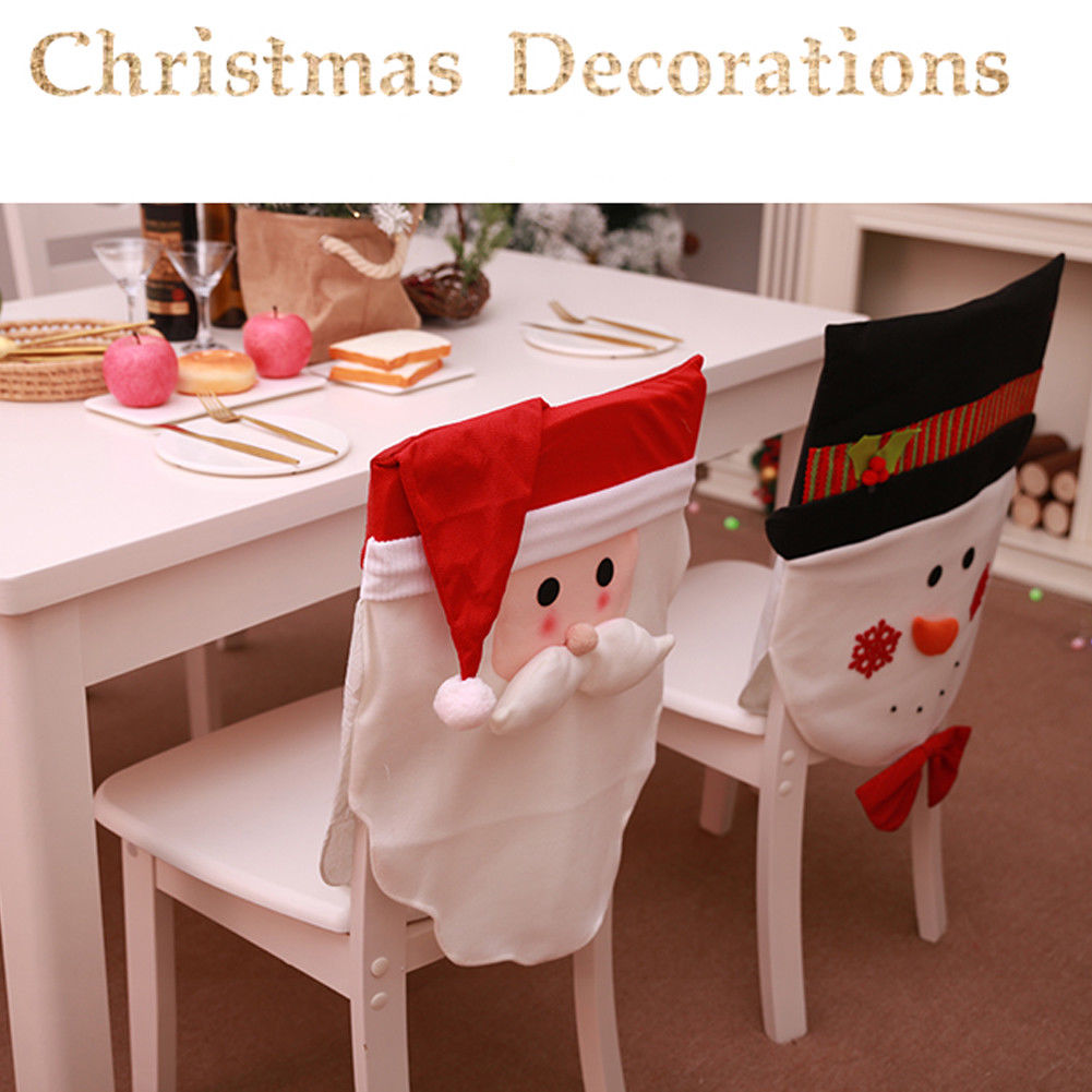 Home & Garden Chair Cover 1pcs Christmas Snowman Chair Covers Home Seat Cover Decoration Party New Year Xmas Dinner Tableware Supplies The Latest Fashion