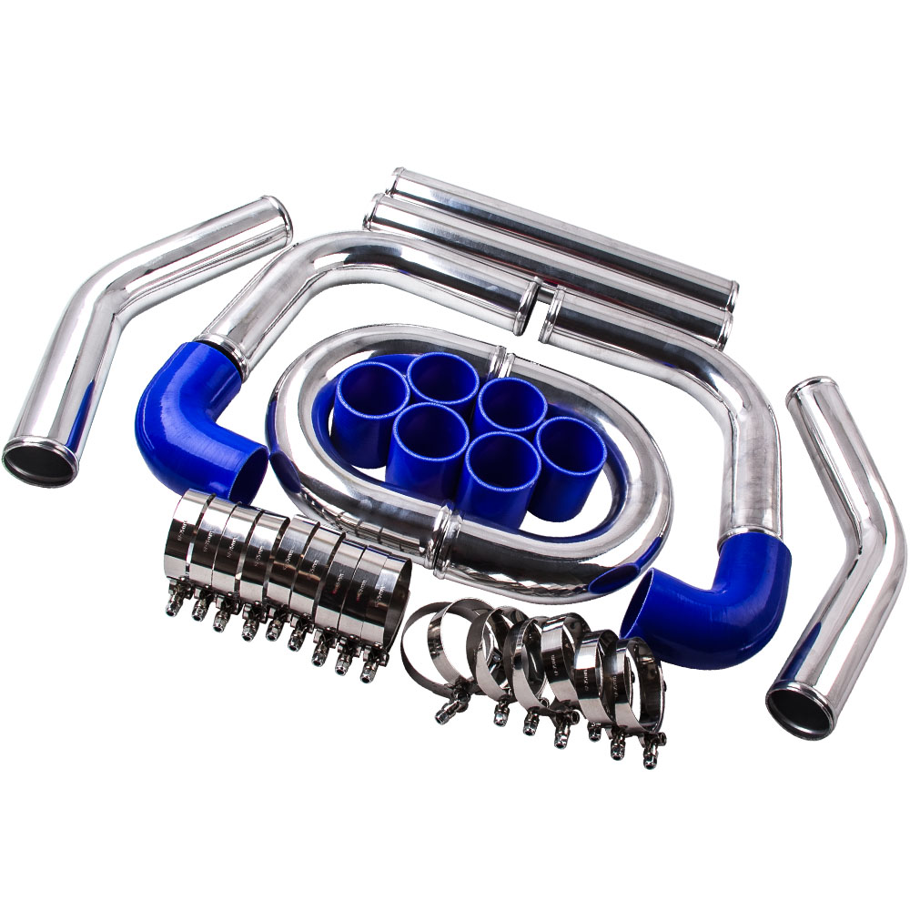 "2.5/"" 64mm Aluminum Universal Intercooler Turbo Piping pipe Kit Blue hose kits"