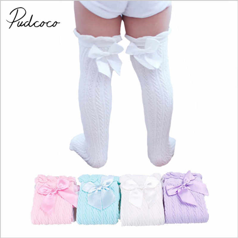 2019 Brand New Newborn Infant Baby Girl Knee Stocking Cotton Breathable Summer Solid Bowknot Fish Net Long Stockings 28cm 38cm