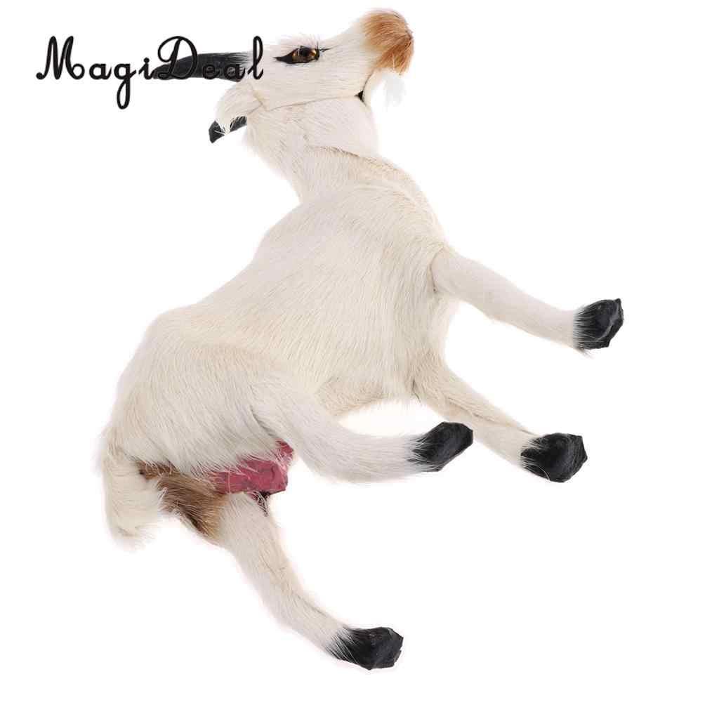 Фигурки из искусственного меха MagiDeal, 1 шт., имитация козы, милые плюшевые игрушки для детей, украшения дома, спальни, автомобиля