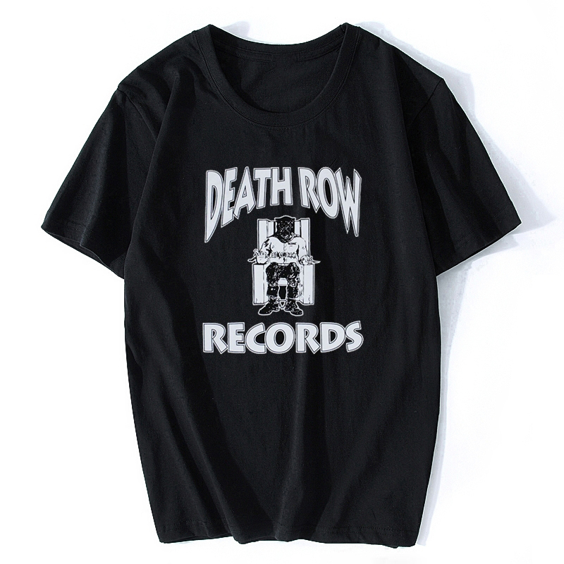 Death Row Records Tupac 2pac Dre Men's R.I.P T-Shirt Black Short Sleeve T Shirt Printed Cotton Top Music Tee Rap Shirt image