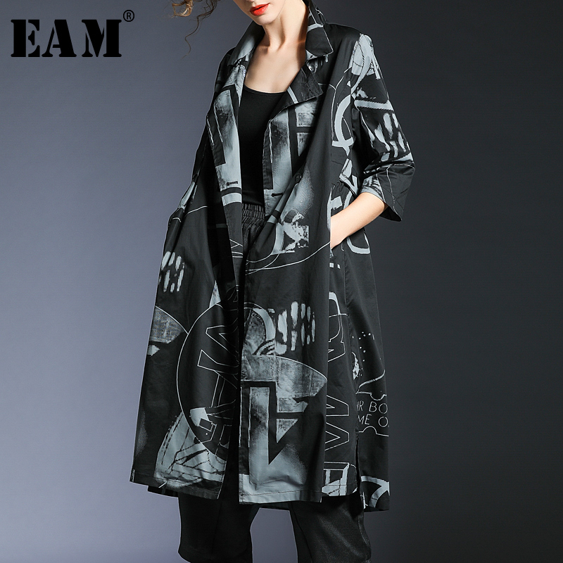 [EAM] 2019 New Spring Summer Lapel Long Sleeve Black Loose Long Big Size Pattern Printed Windbreaker Women   Trench   Fashion JQ097