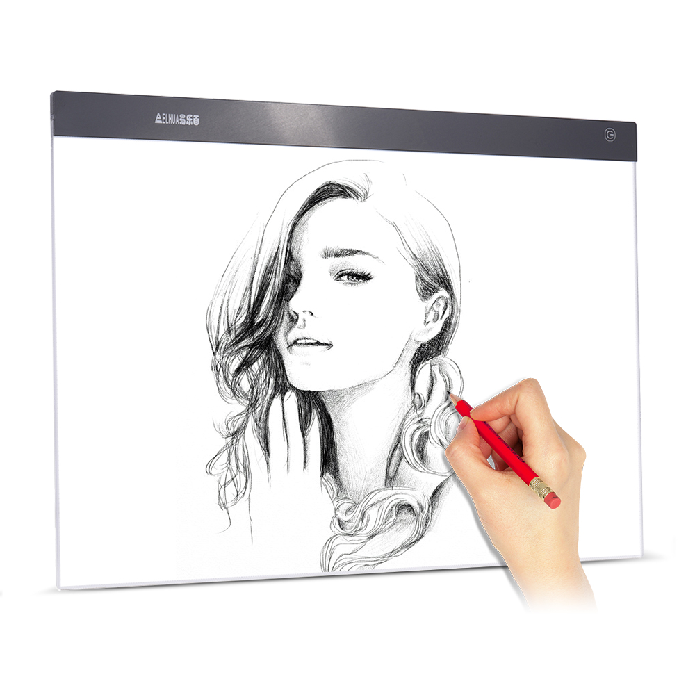 <font><b>A2</b></font> Drawing Tablet LED Digital Graphics <font><b>Light</b></font> <font><b>Pad</b></font> Box Painting Tracing Panel Copyboard Stepless Adjustable Brightness USB Powered image
