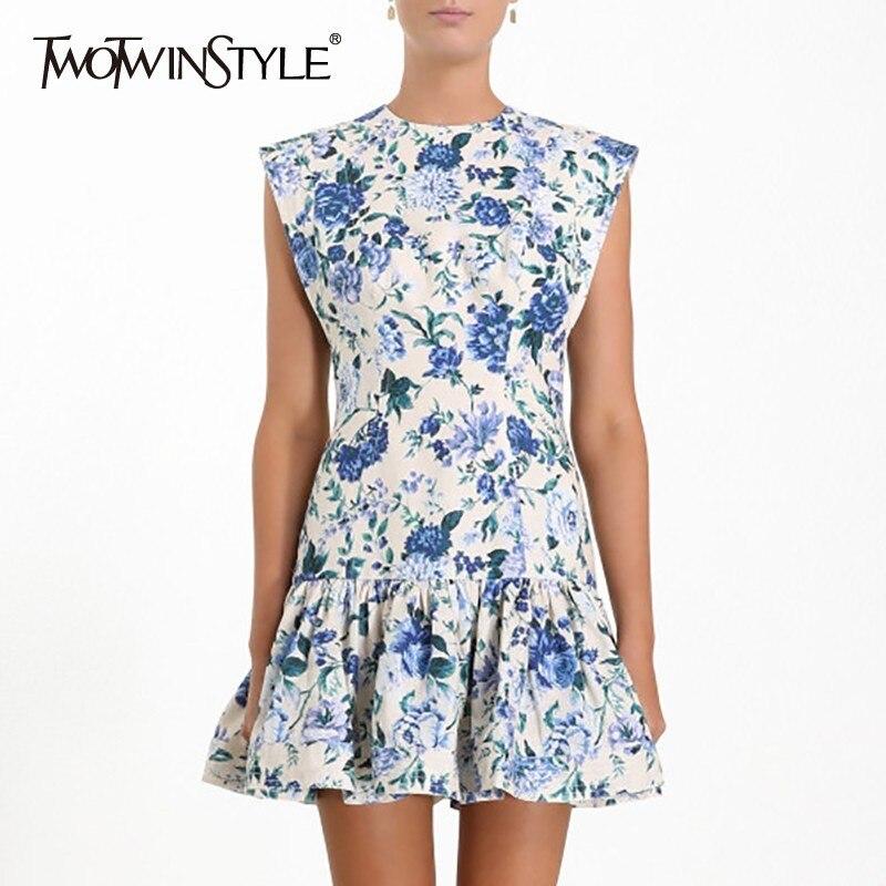 TWOTWINSTYLE Vintage Print Women Dress O Neck Sleeveless Off Shoulder Ruffles Mini Dresses Female Fashion Spring