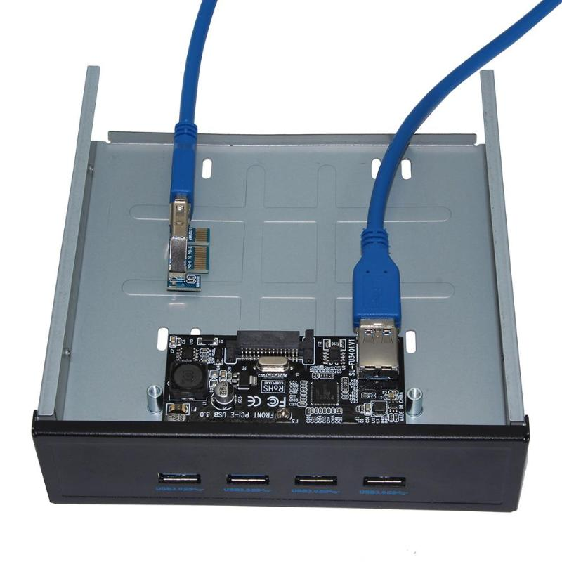 SSU FU3401 <font><b>PCI</b></font>-E to 4 Ports <font><b>USB</b></font> <font><b>3.0</b></font> 5Gbps <font><b>PCI</b></font> <font><b>Express</b></font> Expansion Card Adapter Hard Disk Cable Converter Splitter Hub for Desktop image