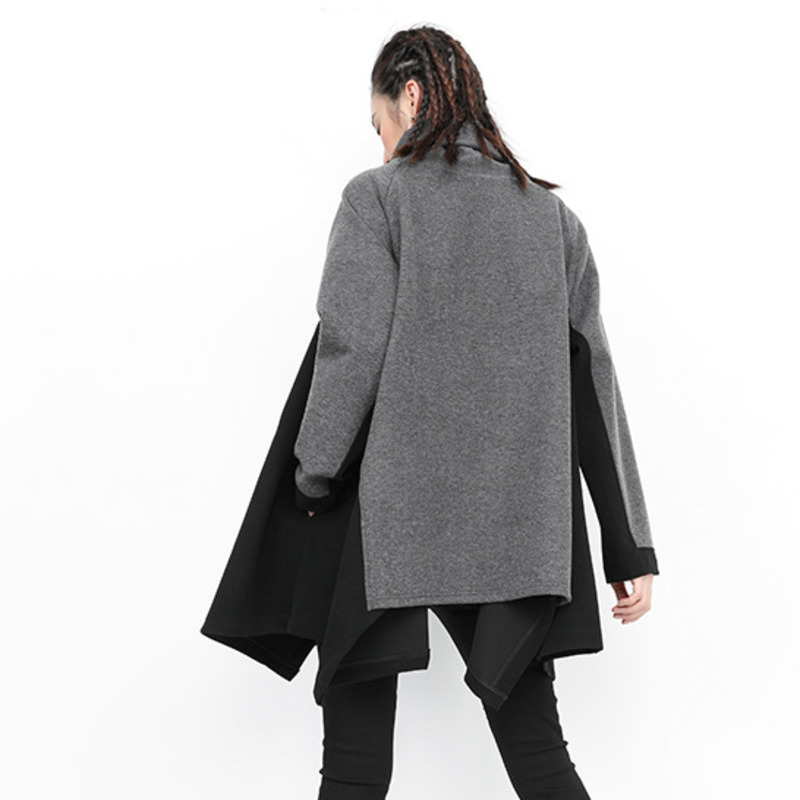 Rollkragen nlichkeit Streetwear Size Tide Plus SchwarzGrau Hop Hip 1105 Frauen Pers Winter Trainingsanzug Sweatshirt Asymmetrischer TK1cFlJ