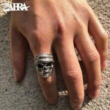 ZABRA роскошное кольцо с черепом 925 серебро регулируемый размер 6 13 кольца для бороды для мужчин готические винтажные панк Рок байкерские мужские подарки ювелирные изделия