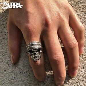 Image 1 - ZABRA Luxury Skull Ring 925 Silver Adjustable Size 6 13  Beard Rings For Men Gothic Vintage Punk Rock Biker Man Gift Jewelry