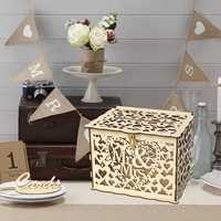 DIY Wedding Gift Card Box Wooden Money Box With Lock Romantic Wedding Decoration Supplies For Birthday Party DIY Card Box