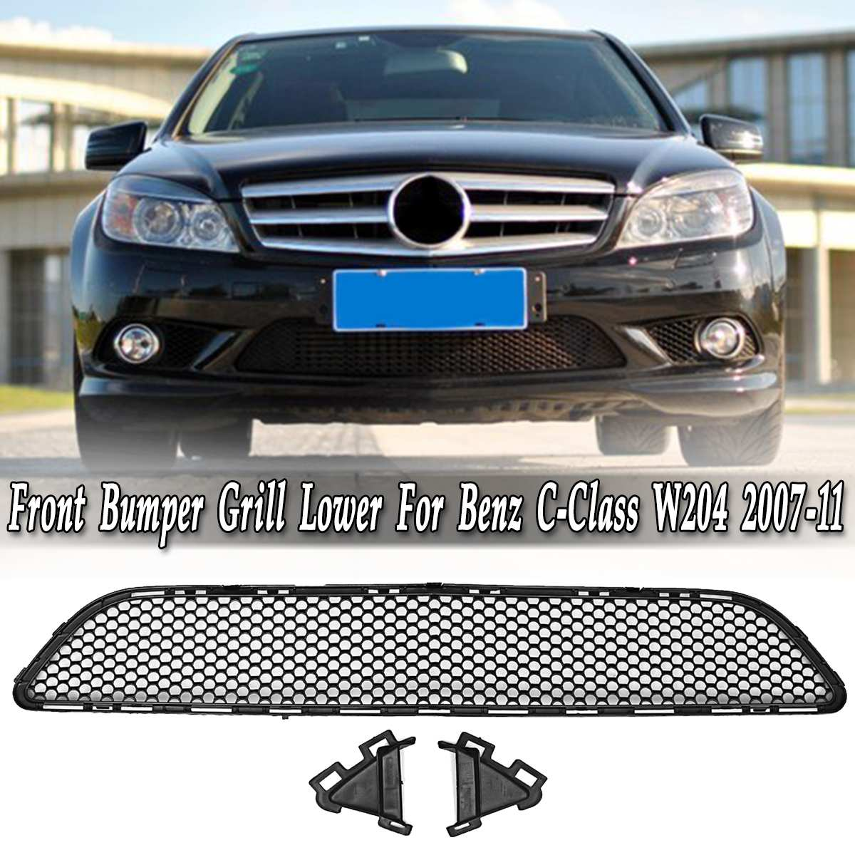 Glossy Black Front Bumper Grille Racing <font><b>Grills</b></font> Lower Fit For Mercedes-<font><b>Benz</b></font> C-Class For AMG <font><b>W204</b></font> 2007 2008 2009 2010 2011 image