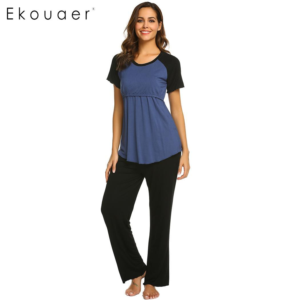 EkouaerWomen Casual   Pajama     Sets   Nighties Sleepwear O-Neck Short Sleeve Maternity   Pajamas     Set   Female Homewear Night Clothes