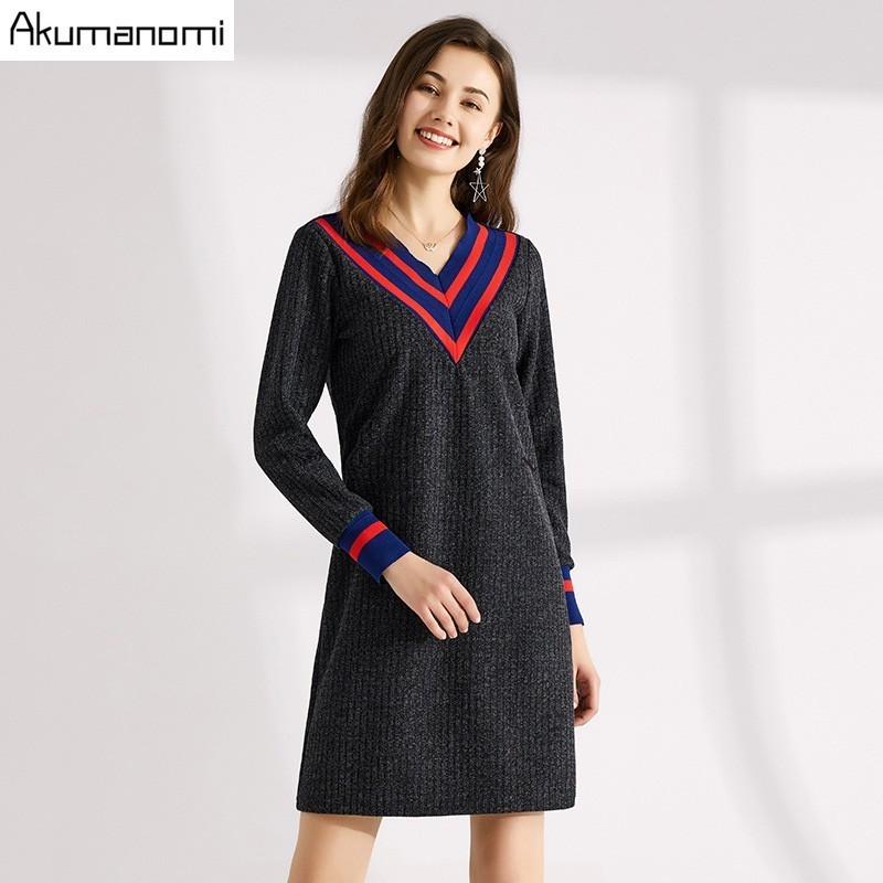 Autumn Knitting Dress Dark Grey V neck Full Sleeve Rib Cuff Women's Clothes Mini Spring Dress Plus Size 5XL 4XL 3XL 2xl xl l