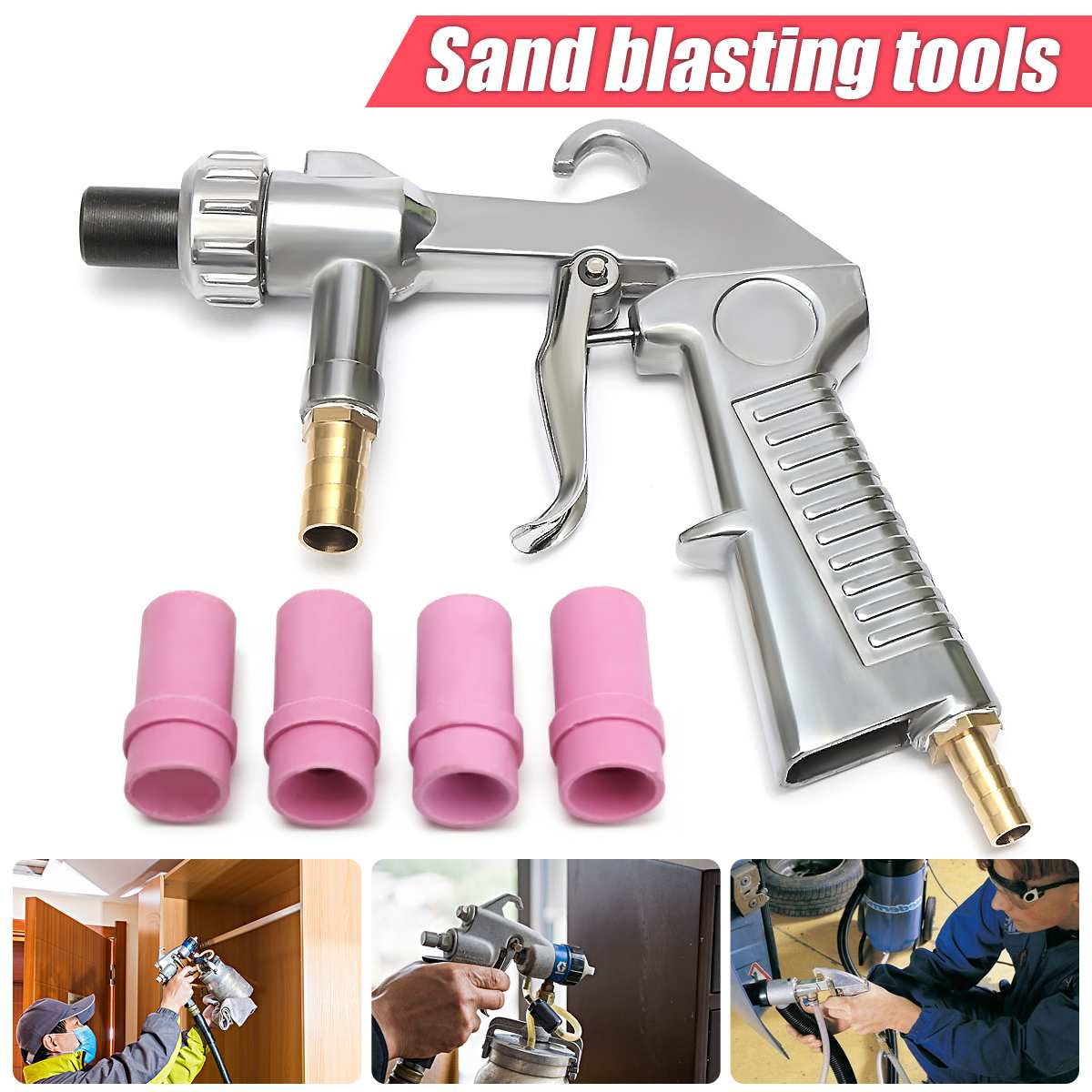Sandblaster Air Siphon Feed Blast Nozzle Ceramic Tips Abrasive Sand Blasting With 4pcs Ceramic Nozzles Abrasive