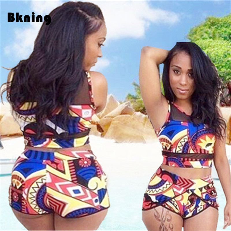 High Waist Bikini Large Size Swimsuit 2 Piece Swimming Suit For Women Neck African Print Swimwear Bandeau Separate Plus XL XXXL