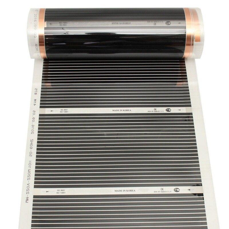 220V 220W Far Infrared Carbon Underfloor Heating Film Foil Electric Floor Warming Mat For Laminate Solid Flooring 50cm*4m