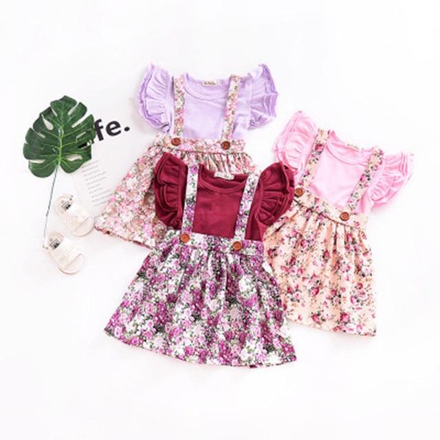 Dễ thương Trẻ Sơ Sinh Trẻ Em Bé Gái Váy Floral Print Đảng Kỳ Nghỉ Công Chúa Yếm Có Dây Đeo Áo Dây Đeo Váy Cotton Mùa Hè Cô Gái Quần Áo