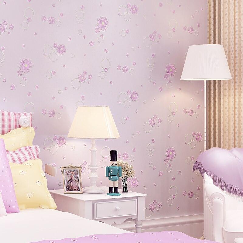 Coréen doux petite fleur papier peint Mural bébé fille chambre papier peint 3d en relief papier peint auto-adhésif enfants chambre Decorqz081 - 2