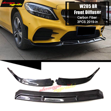 цена на For Brabus-style Front Lip Diffusor Bumper bar Splitter For Benz W205 C180 C200 C230 C250 Front Lip Diffusor 3-pcs Carbon 2019+