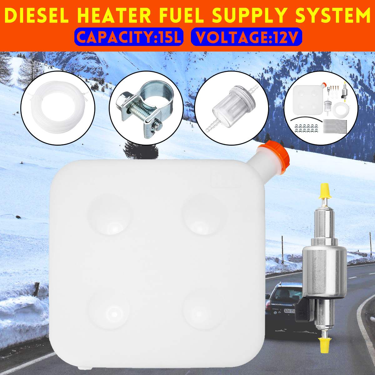 Car Heater Diesel Air Heater Accessories <font><b>15L</b></font> <font><b>Tank</b></font> 12V Fuel Pump System 4 <font><b>Tank</b></font> Hole For Diesel Air Heater Parts Replacement Set image