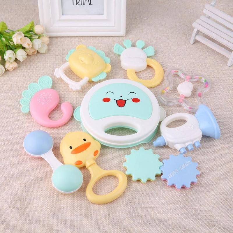 Baby Rattles Mobiles Teether Toys Intelligence Grasping Gums Soft Teether Plastic Hand Bell  Hammer Educational Gift For Baby