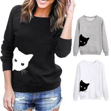 Personality Female Girl Cat Head Printing Sweatshirt Fashion Casual Loose Long Sleeve Round Neck Spring Top(China)