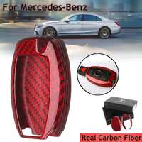 Key Case Cover Shell Real Carbon Fiber Red Color For Mercedes For Benz W204 W205 W212 C S E Class Holders Car Styling