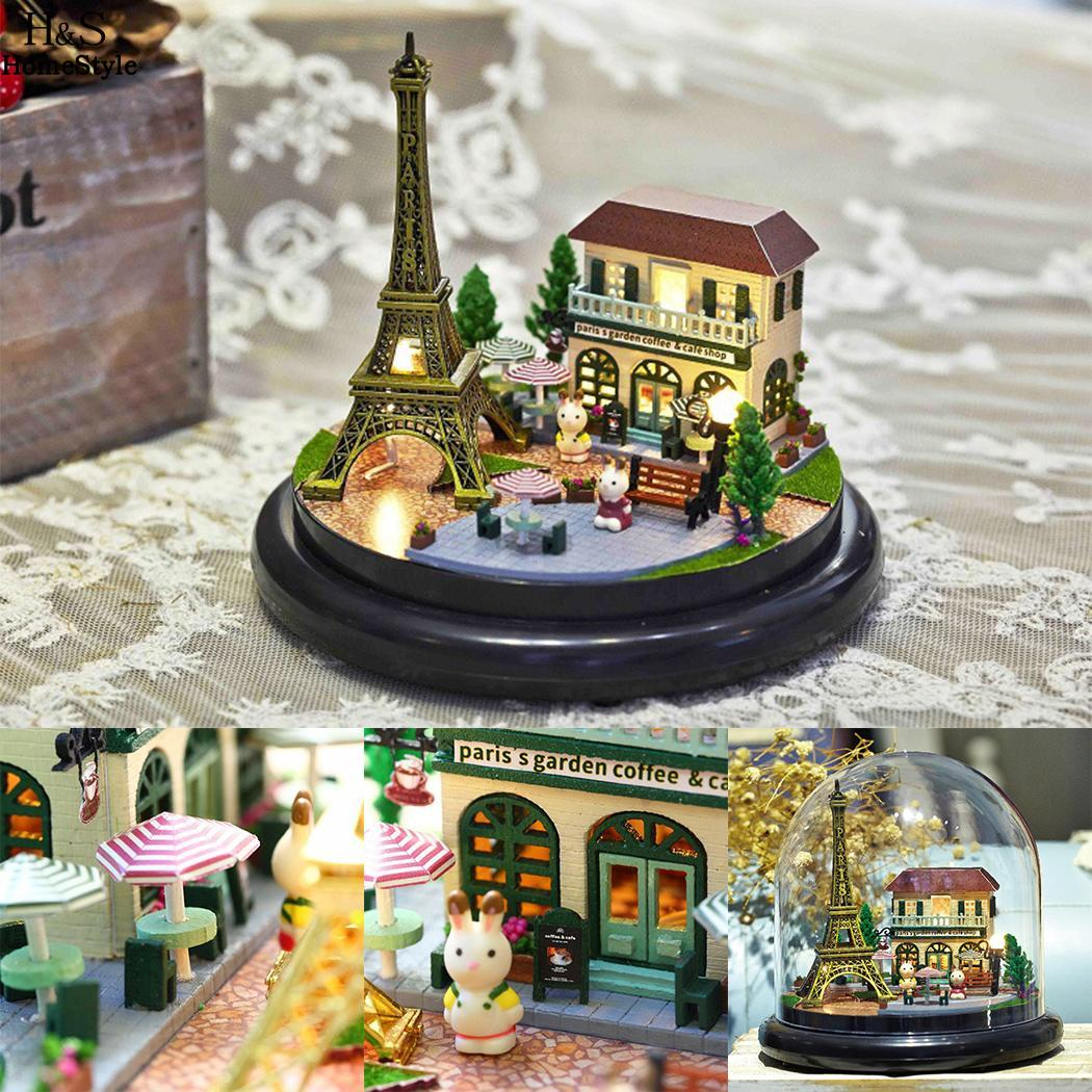 Beautiful LED Light Music Box Home Decoration Kids Musical Eiffel Tower Toys Gift Dry Battery(Not Include)