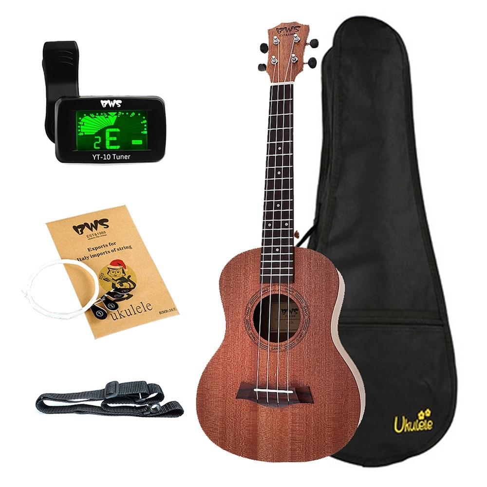 BWS EST & 1988 26 Inch Tenor Ukulele Mahogany Wood 18 Frets  Acoustic Cutaway Guitar Mahogany Wood Ukulele Hawaii 4 String Guita