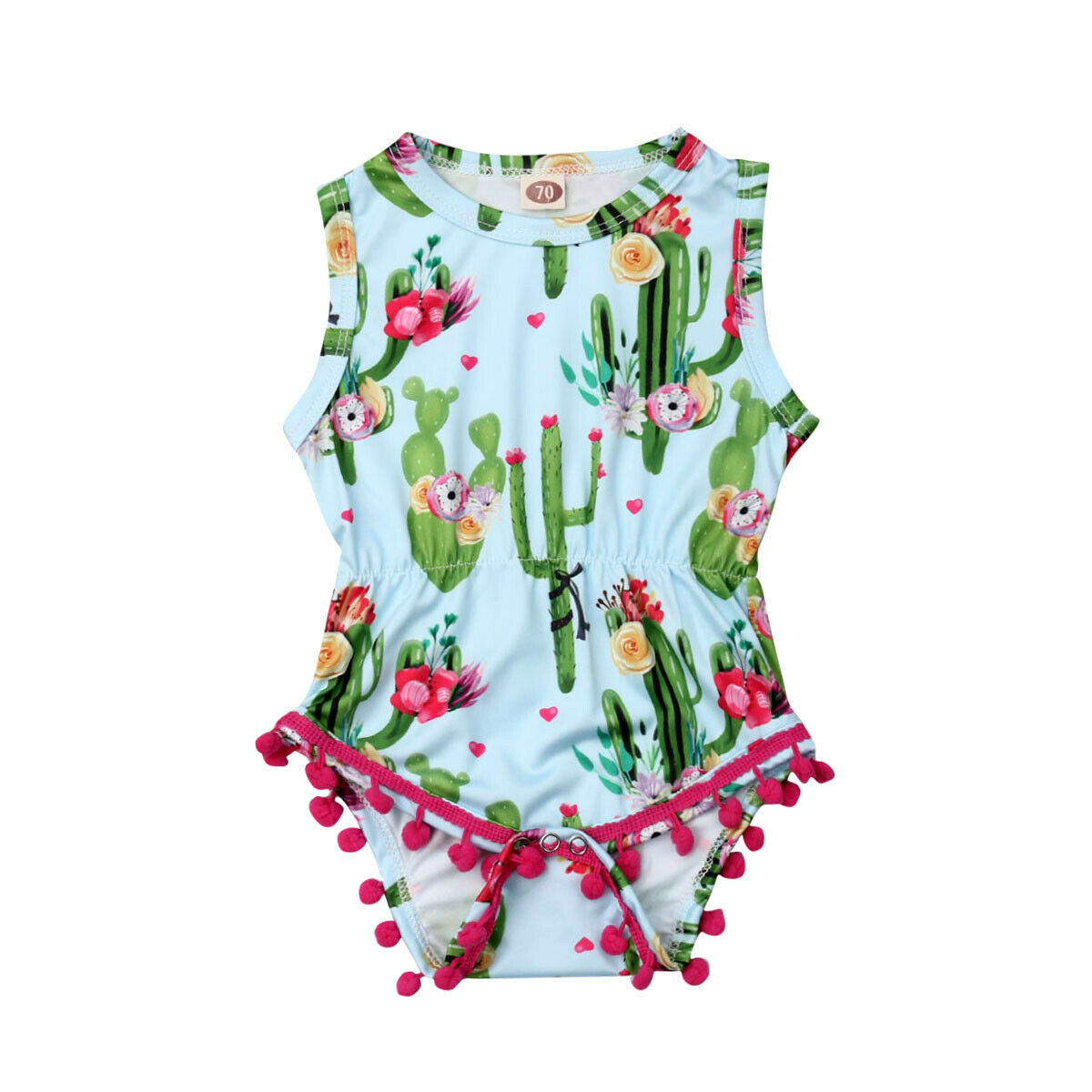 0-24M Cute Newborn Baby Girl Sleeveless Cactus Floral Tassel Ball   Romper   Jumpsuit Outfits Summer Clothes