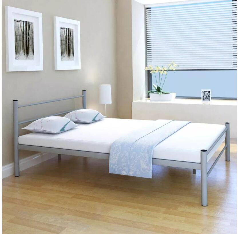 vidaXL Giantex Metal Steel Bed Frame with Stable Metal Slats Headboard Footboard Steel Bedroom Furniture