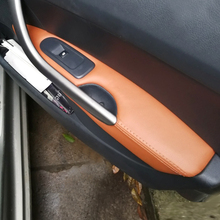 Manija de puerta Interior de cuero de microfibra para coche, apoyabrazos, cubierta protectora embellecedora para Peugeot 408 2010 2011 2012 2013