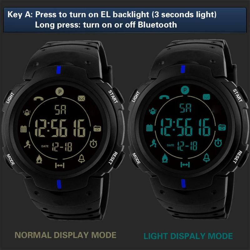 ALLOYSEED Women Men Waterproof Bluetooth Sports Pedometer Wristwatches Unisex Resin Strap Smart Electronic Watches