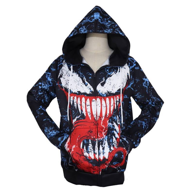 New Arrive Venom 3D Printed Pullover Zip Hoody Sweatshirt Cosplay Anime Peripheral Sweatshirt Venom Costume Hoodies