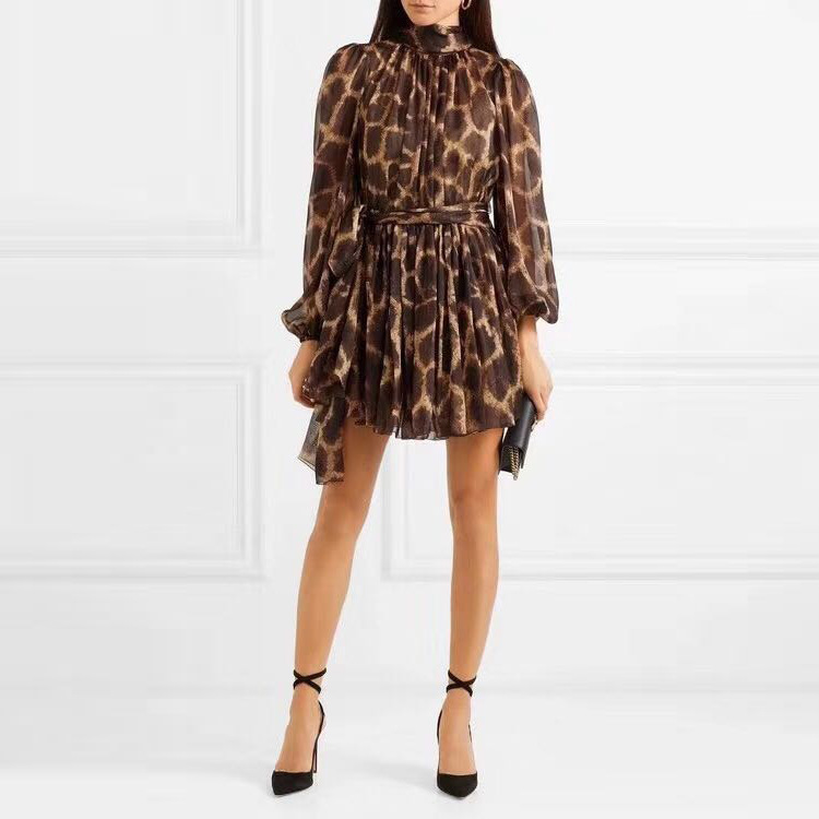 DEAT 2019 new spring and summer fashion women clothing bow collar lantern mesh sleeves leopard printed
