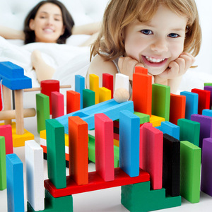 120 Dominoes in 12 Colors Contains a set of 10 domino accessories Kids wooden Domino Building Blocks Toys Classic Montessori Toy