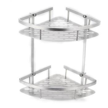 Gorąca sprzedaż 2 warstwy łazienka narożna półka po prysznic aluminium trójkątne organizator z półkami do przechowywania na szampon mydło kosmetyczne uchwyt na kosz tanie i dobre opinie Podwójny tier Śruba typu wstawianie Shower Shelf STAINLESS STEEL Rogu Łazienka półki Alumimum