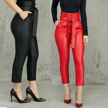 Doyerl Silm PU Leather Thicken Winter Women Pocket High Waist Sexy Pants Black