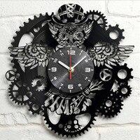 New Wall Clock 3D Acrylic PUNK Owl Gear Clock Hanging Watch On The Wall Nostalgic Steam Quartz Wall Clock For Home Decoration