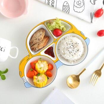 Creative Ceramic Breakfast Dinner Plate Children Dinner Plate Lovely Cartoon Car Dinner Split Plate Baby Dinner Plate Tableware
