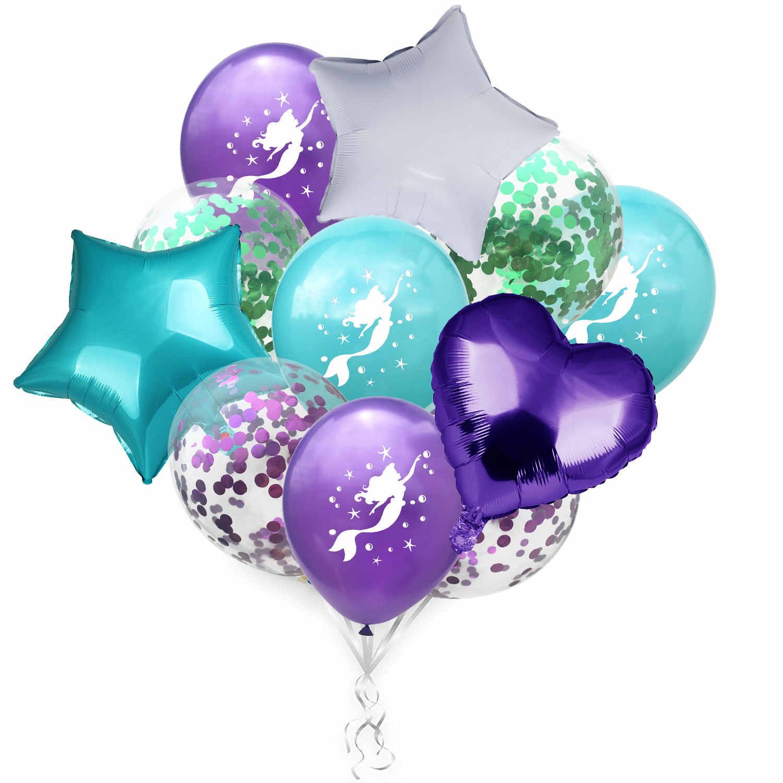 Confetti AMAWILL Sereia Dos Desenhos Animados Balão Da Folha De Material de Pequena Sereia Balões Balões de Hélio Para Crianças Brinquedo Aniversário Ariel