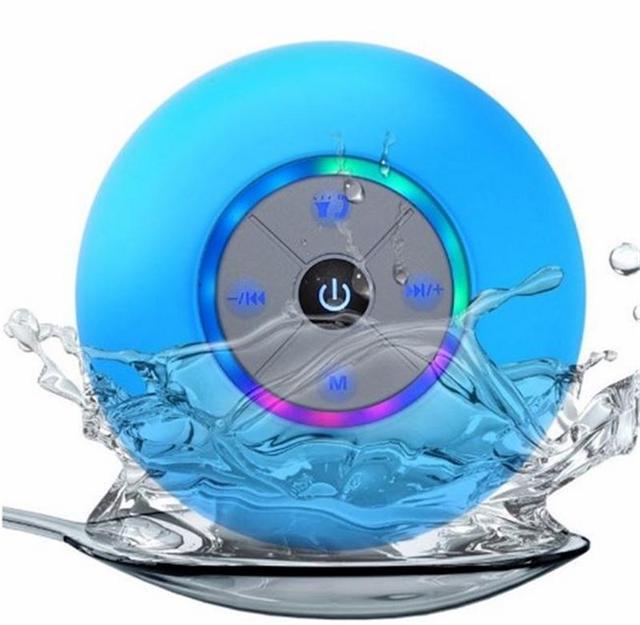 Portable Wireless Waterproof Bluetooth Speaker Mini HandsFree LED Lamp Suction Cup Bathroom Car Mobile Phone Speaker Loudspeaker