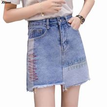 купить Women Summer Patchwork High Waist denim skirts vintage pockets faldas European style ladies fashion mini A-line skirts Xnxee дешево