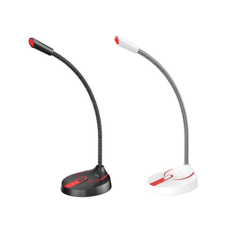 ALLOYSEED Flexible Stand Studio Speech Omnidirectional Wired Microphone 3.5mm USB Desktop Gooseneck Mic For Computer PC Meeting
