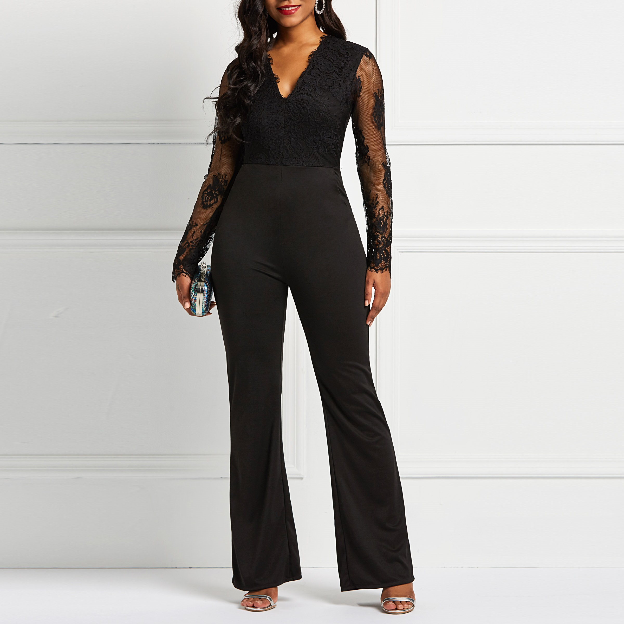 Clocolor Elegant Ladies Long Sleeve   Jumpsuit   Sexy V Neck Lace Transparent Autumn Winter Plus Size Bodycon Slim Women's   Jumpsuits